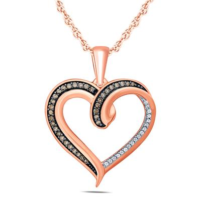 1/4 Carat TW Brown And White Diamond Heart Pendnat in 10K Rose Gold