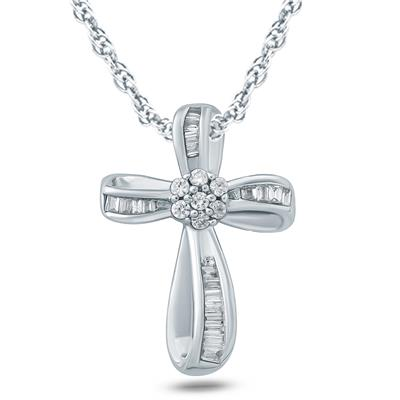 1/5 Carat TW Baguette and Round Diamond Cross Pendant in 10K White Gold