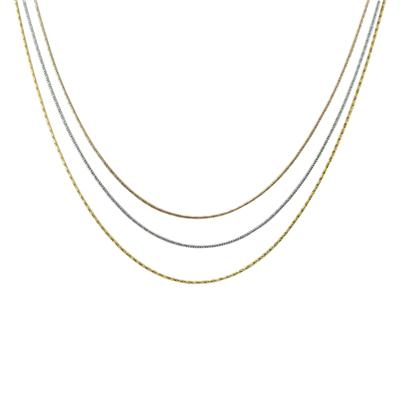 Triple Strand Three Tone Necklace in .925 Sterling Silver