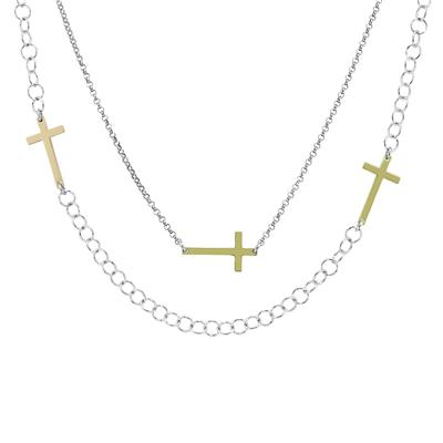 Long 46 Inch Cross Necklace In .925 Sterling Silver