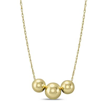 10K Yellow Gold Three Bead Station Necklace