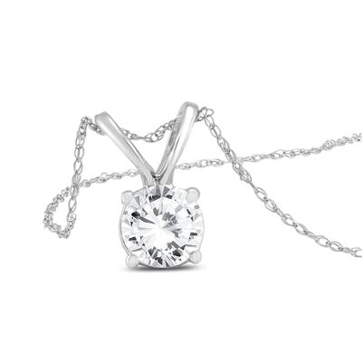 1 Carat Diamond Solitaire Pendant in 14K White Gold