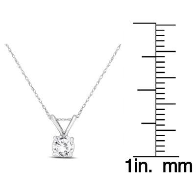PREMIUM QUALITY - 1 Carat Diamond Solitaire Pendant in 14K White Gold (E-F Color, SI1-SI2 Clarity)