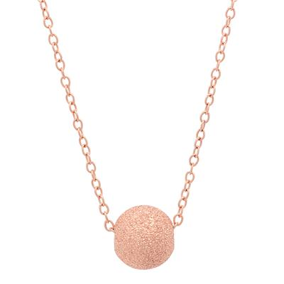 Adjustable Diamond Cut Pink Ball Necklace in .925 Sterling Silver