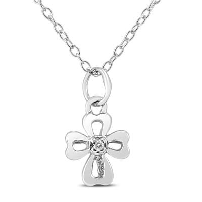 Diampond Accent Charm Necklace in .925 Sterling Silver (Butterfly, Cross, Star, Snow)