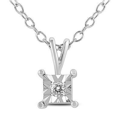 Illusion Set Diamond Solitaire Pendant in .925 Sterling Silver