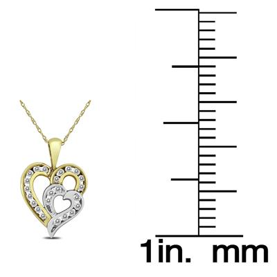 1/2 Carat TW Diamond Double Heart Pendant in 10K Two Tone Gold