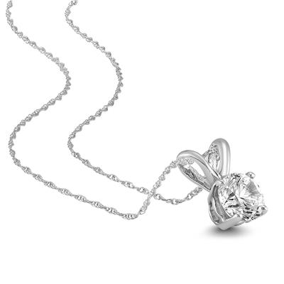 1/4 Carat AGS Certified Round Diamond Solitaire Pendant in 14K White Gold (I-J Color, SI1-SI2 Clarity)