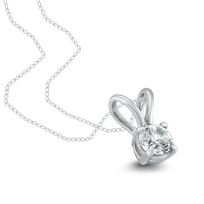 1/2 Carat AGS Certified Round Diamond Solitaire Pendant in 14K White Gold (I-J Color, SI1-SI2 Clarity)