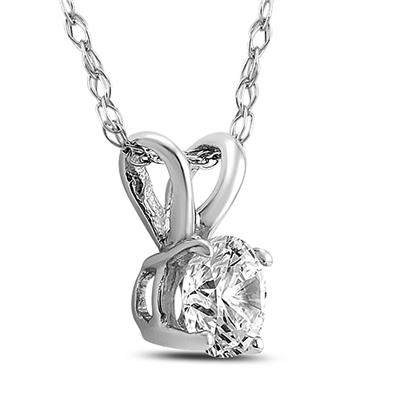 3/4 Carat AGS Certified Round Diamond Solitaire Pendant in 14K White Gold (I-J Color, SI1-SI2 Clarity)