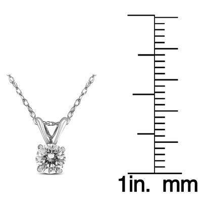 1 Carat AGS Certified Round Diamond Solitaire Pendant in 14K White Gold (I-J Color, SI1-SI2 Clarity)