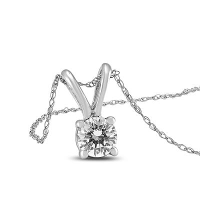 1/3 Carat AGS Certified Round Diamond Solitaire Pendant in 14K White Gold (I-J Color, SI1-SI2 Clarity)