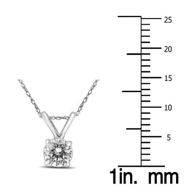 1/3 Carat Round Diamond Solitaire Pendant in 14K White Gold