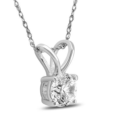 3/8 Carat Round Diamond Solitaire Pendants In 14K White Gold