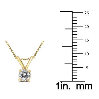 1/4 Carat Round Diamond Solitaire Pendant in 14K Yellow Gold