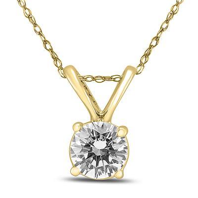 1/2 Carat Round Diamond Solitaire Pendant in 14K Yellow Gold