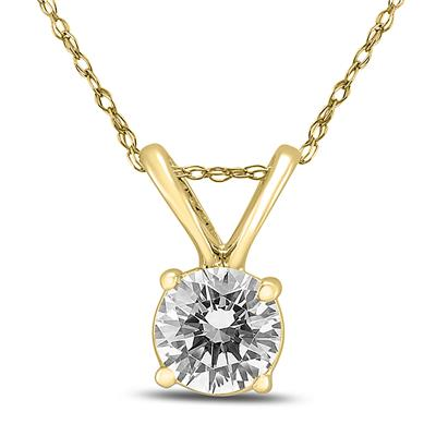 3/8 Carat Round Diamond Solitaire Pendant in 14K Yellow Gold