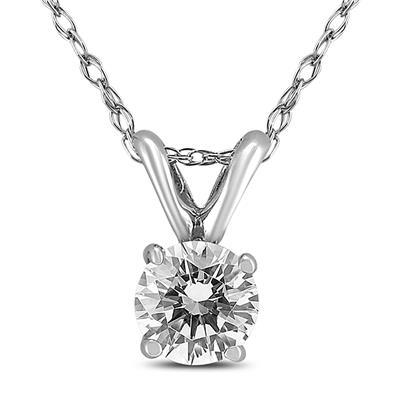 PREMIUM QUALITY - 3/4 Carat Diamond Solitaire Pendant in 14K White Gold (G-H Color, SI1-SI2 Clarity)