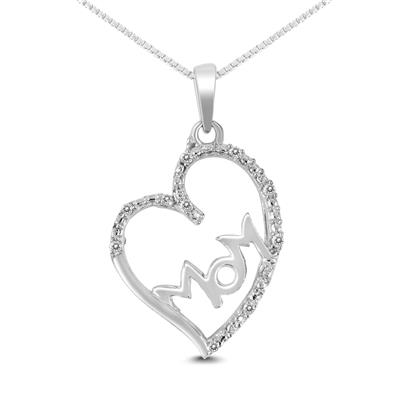 Diamond Heart with MOM Pendant in .925 Sterling Silver
