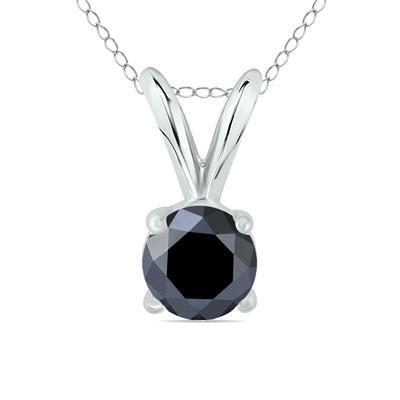 1/2 Carat Round Black Diamond Solitaire Pendant in 14K White Gold