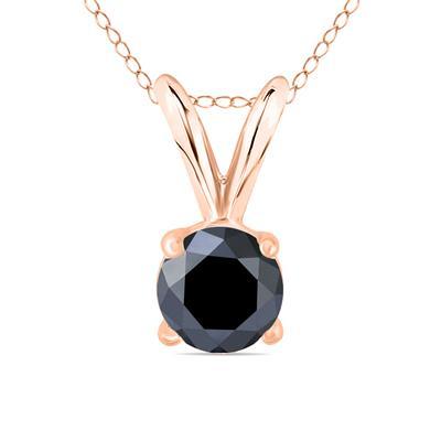 1/2 Carat Round Black Diamond Solitaire Pendant in 14K Rose Gold