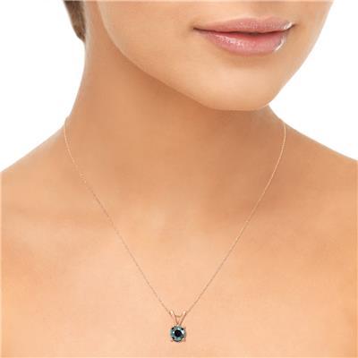 1 Carat Round Black Diamond Solitaire Pendant in 14K Rose Gold