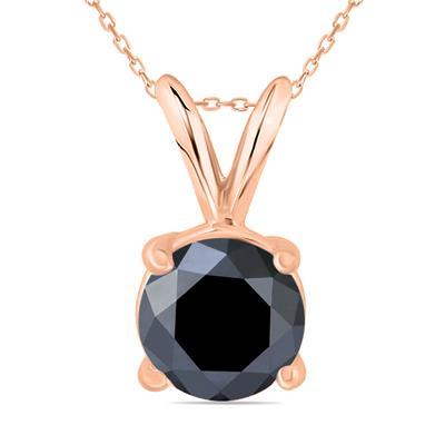 1 1/2 Carat Round Black Diamond Solitaire Pendant in 14K Rose Gold