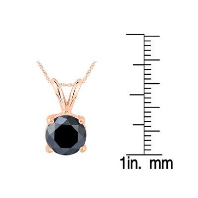 2 Carat Round Black Diamond Solitaire Pendant in 14K Rose Gold
