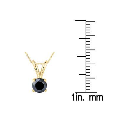 1/2 Carat Round Black Diamond Solitaire Pendant in 14K Yellow Gold