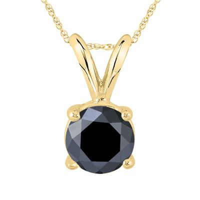 1 Carat Round Black Diamond Solitaire Pendant in 14K Yellow Gold