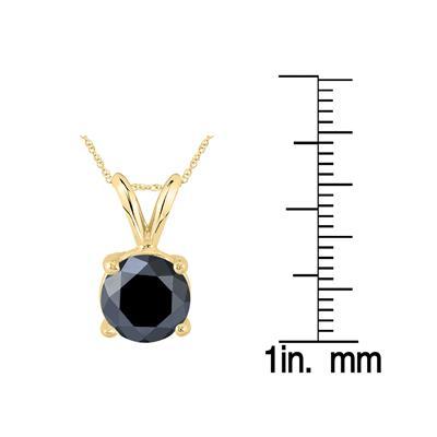 2 Carat Round Black Diamond Solitaire Pendant in 14K Yellow Gold