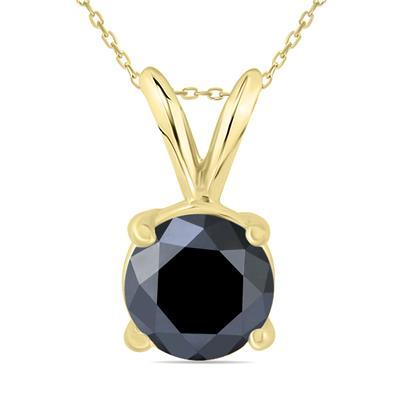 1 1/2 Carat Round Black Diamond Solitaire Pendant in 14K Yellow Gold