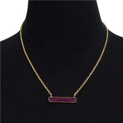 10 Carat Created Dyed Ruby Bar Necklace In Yellow Gold Overlay