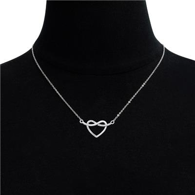 1/10 Carat TW Diamond Heart Crossover Necklace In .925 Sterling Silver