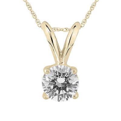 AGS Certified 1/3 Carat Round Diamond Solitaire Pendant in 14K Yellow Gold (Color H-I, Clarity I2-I3)