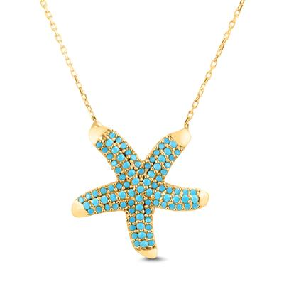 Created Turquoise Starfish Pendant in Yellow Plated