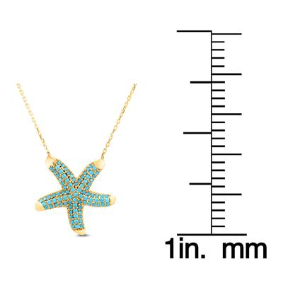Created Turquoise Starfish Pendant in Yellow Plated .925 Sterling Silver