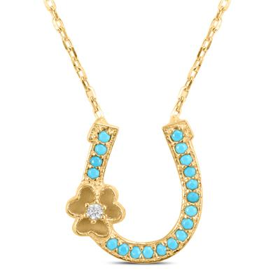 Turquoise Horseshoe Pendant in Gold Plated .925 Sterling Silver