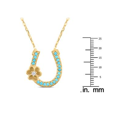 Created Turquoise Horseshoe Pendant in Gold Plated .925 Sterling Silver