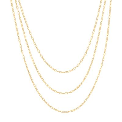 Triple Strand Vermeil Necklace with Adjustable Bolo Clasps