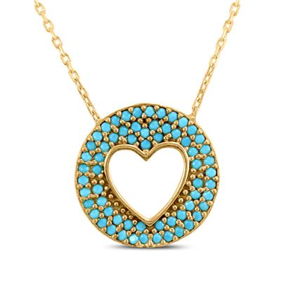 Circle Heart Created Turquoise Pendant in Yellow Plated .925 Sterling Silver