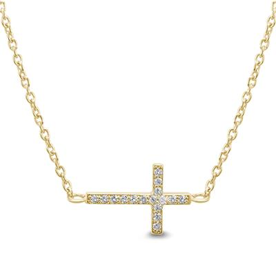 Created White Sapphire Sideways Cross Necklace in Gold Plated .925 Sterling Silver