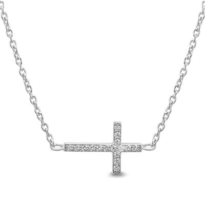 Created White Sapphire Sideways Cross Necklace in .925 Sterling Silver