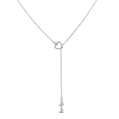 Heart and Key Lariat Charm Necklace in .925 Sterling Silver