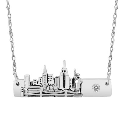 New York Skyline Bar Pendant Necklace in .925 Sterling Silver