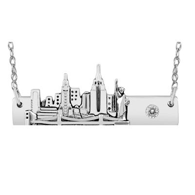 New York Skyline Bar Pendant Necklace with White Topaz Accent in .925 Sterling Silver