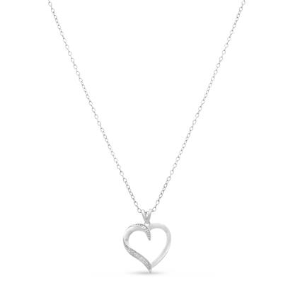 Classic Diamond Heart Necklace Pendant in .925 Sterling Silver