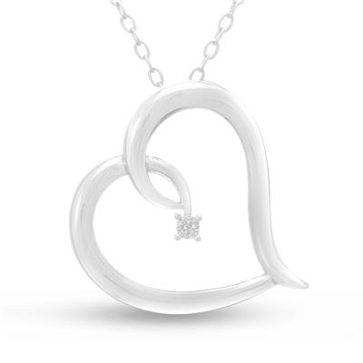 Diamond Heart Pendant in Sterling Silver Brass