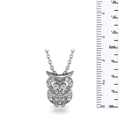 1/4 Carat TW Diamond Owl Necklace in .925 Sterling Silver