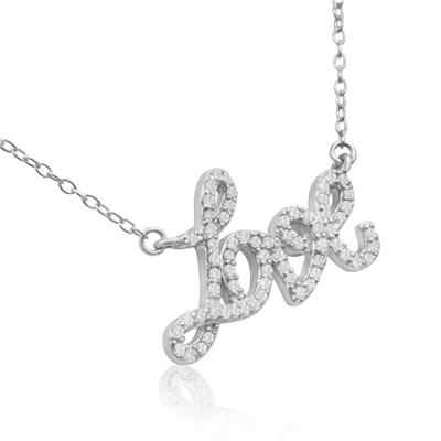 1/2 Carat TW Diamond Love Necklace in .925 Sterling Silver
